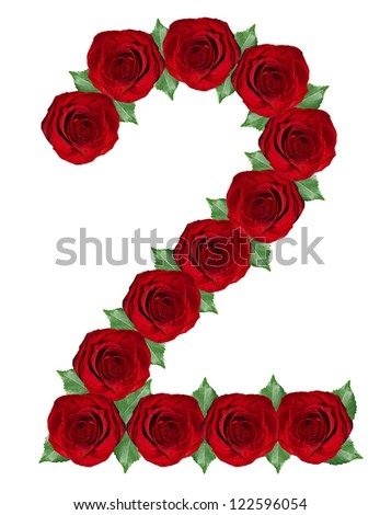 Number 2  made from  red roses and green leaves isolated on a white background