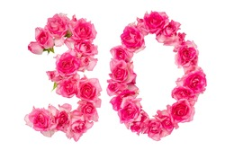 Number 30 made from roses on a white isolated background. Pink roses. Element for decoration. Anniversary, holiday.