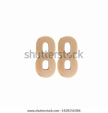 Number 88 made in wood on isolated background