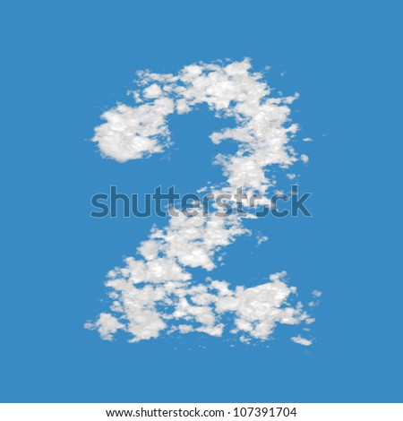 Number 2, made of clouds  on blue sky background.