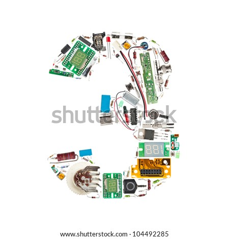 "Number ""3"" made of electronic components isolated in white background"
