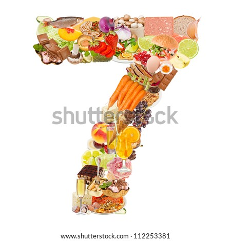 Number 7 made of food isolated on white background