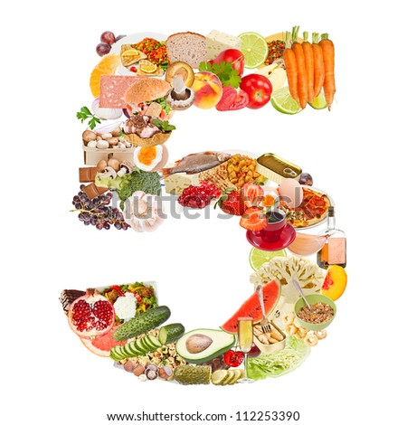 Number 5 made of food isolated on white background