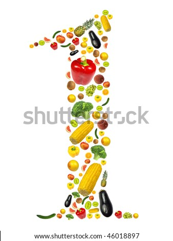 """Number """"1"""" made of fruit and vegetable"""
