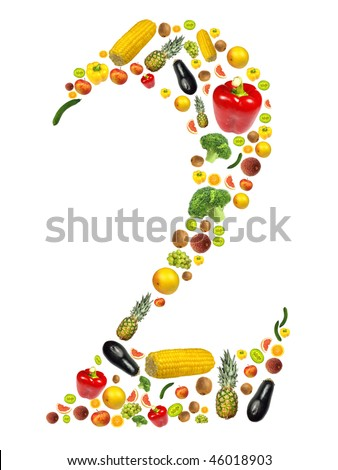 "Number ""2"" made of fruit and vegetable"