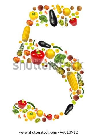 "Number ""5"" made of fruit and vegetable"