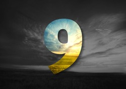 number 9 Made of landscape Typographic, Monogram