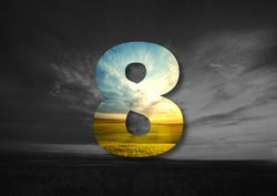 number 8 Made of landscape Typographic, Monogram