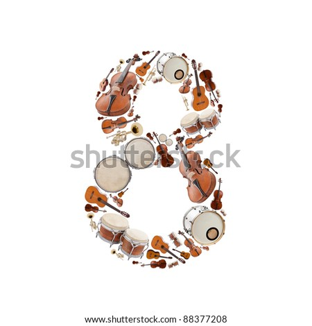 Number 8 made of Musical instruments isolated on white