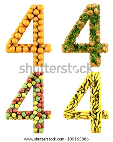Number 4, made of oranges, pineapples, apples and bananas. 3d render. Isolated on a white.