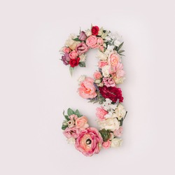 Number 3 made of real natural flowers and leaves. Flower font concept. Unique collection of letters and numbers. Spring, summer and valentines creative idea.