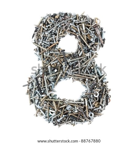 Number '8' made of screws isolated on white