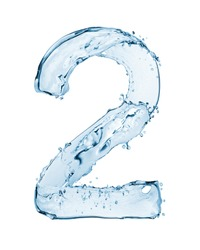 Number 2 made with a splashes of water isolated on white background
