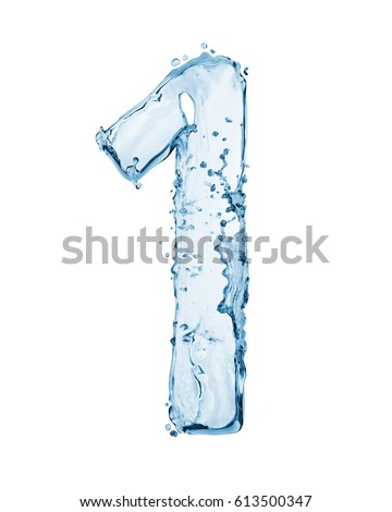 Number 1 made with a splashes of water isolated on white background  #613500347