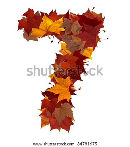Number 7 made with autumn leaves. Isolated on white with clipping path, so you can easily cut it out and place over the top of a design. Find others symbols in our portfolio to compose your own words.