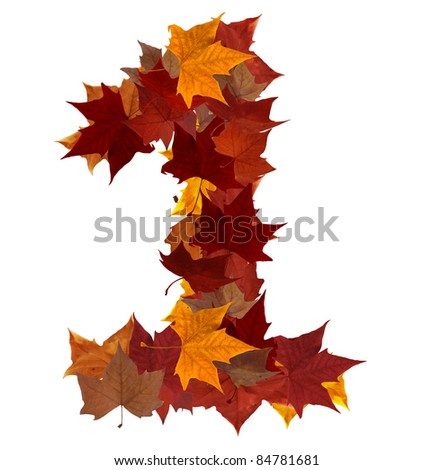 Number 1 made with autumn leaves. Isolated on white with clipping path, so you can easily cut it out and place over the top of a design. Find others symbols in our portfolio to compose your own words.