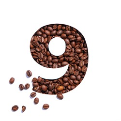Number nine made of coffee beans and paper cut in shape of ninth numeral isolated on white. Typeface for coffee store