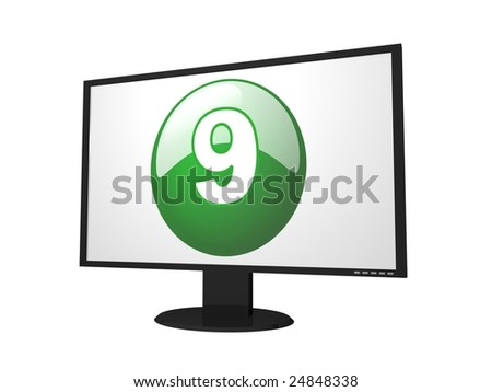 number nine monitor for presentation - stock photo