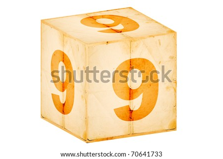 number nine old box isolated on white - stock photo