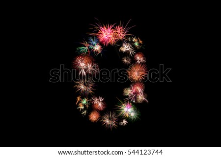 Number 0. Number alphabet made of real fireworks #544123744