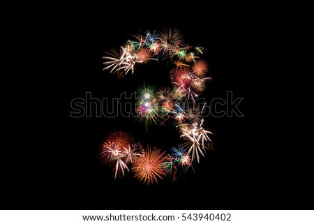 Number 3. Number alphabet made of real fireworks. See other numbers in my portfolio. #543940402