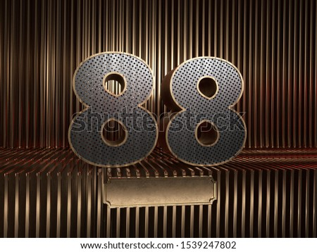 number 88 (number eighty-eight), perforated with small holes on the background of metal pieces with the tablet for personalized inscriptions. 3D illustration