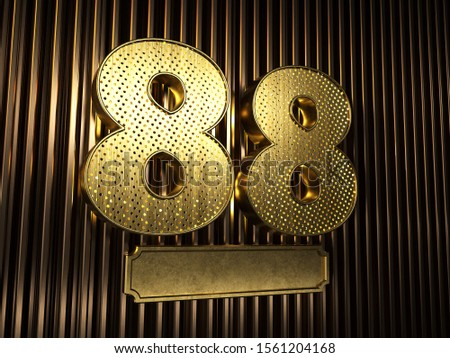 number 88 (number eighty-eight) perforated with small holes on the background of metal pieces with the plate for personalized inscriptions. 3D illustration