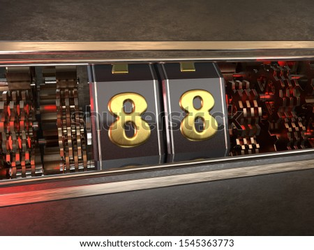 number 88 (number eighty-eight) style of slot machine. 3D illustration