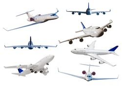 Number of different kind of aircrafts 3D Rendering