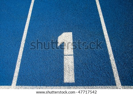 Number 1 on a blue running track