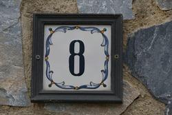 number 8  on a house, La Nucia, Alicante Province, Costa Blanca, Spain, April 2021