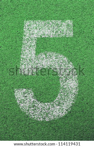 number 5 on green grass