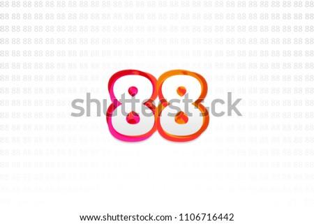 Number 88 on Number 88 background