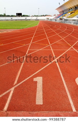 Number 1 on running track