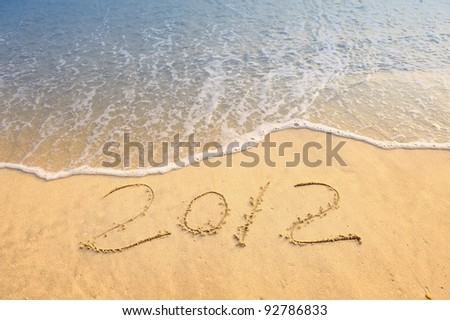 number 2012 on the beach of sunrise #92786833