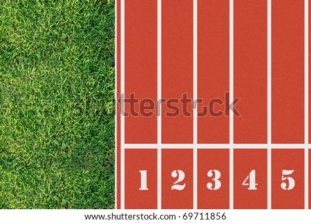 Number on the start of a running track from bird eyes perspective
