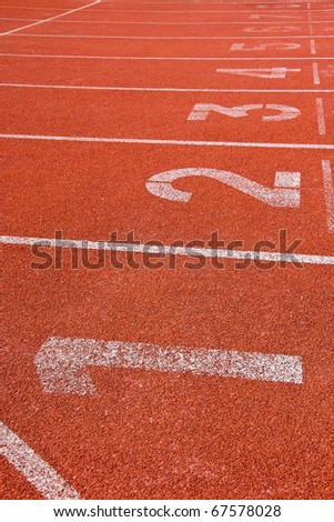 Number on the start of a running track in Stadium