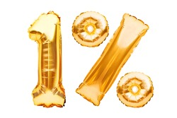 Number 1 one and percent sign made of golden helium inflatable balloons isolated on white. Gold foil numbers for use on web and advertising banners, posters, flyers. Discounts Black Friday concept