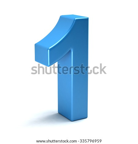 Number one color blue icon