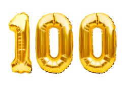 Number 100 one hundred made of golden inflatable balloons isolated on white. Helium balloons, gold foil numbers. Party decoration, anniversary sign for holidays, celebration, birthday, carnival