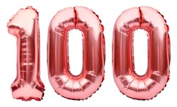 Number 100 one hundred made of rose golden inflatable balloons isolated on white. Helium balloons, pink foil numbers. Party decoration, anniversary sign for holidays, celebration, birthday, carnival