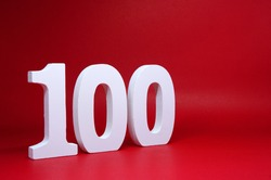 Number One Hundred  ( 100 ) Percentage on Red  Background with Copy Space - Discount 100% Safe Price Business finance promotion Concept - number object