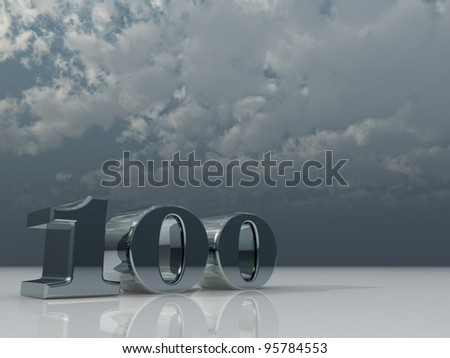 number one hundred under cloudy sky - 3d illustration