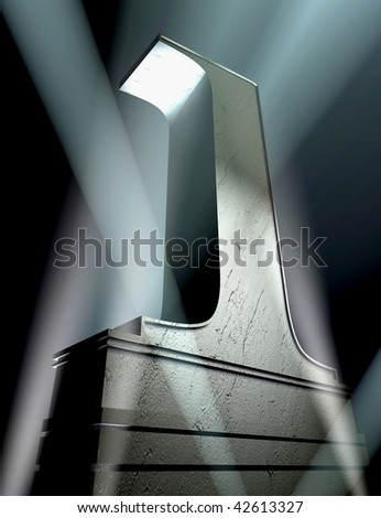 Number one in a silver letter on a silver pedestal
