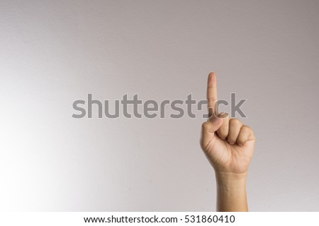 Number one index finger on white background #531860410