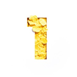 Number one made of corn flakes, paper cut in shape of first numeral isolated on white. Typeface for healthy food store