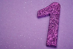 Number one purple color over a purple background. Anniversary. Horizontal