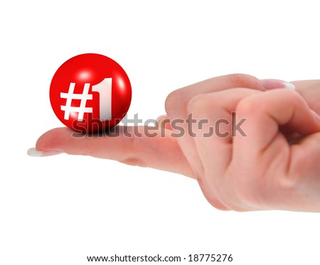 Number one sign on finger, shallow DOF, there is no infringement of trademark copyright