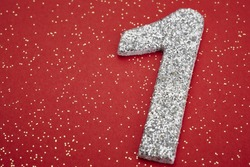 Number one silver color over a red background. Anniversary. Horizontal