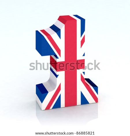 number one with english flag 3d illustration - stock photo